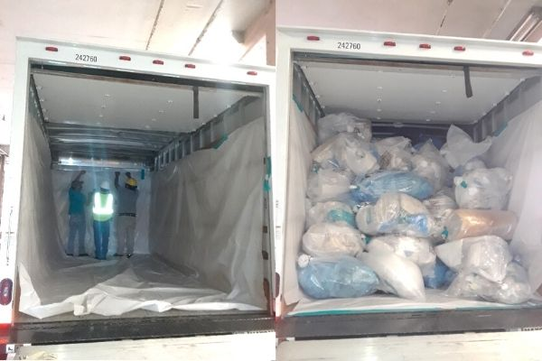 Truck trash bags asbestos clean up safely